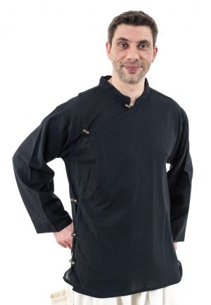 Tibetan shirt man side opening black