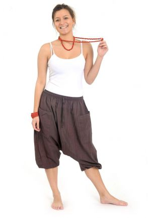 Cropped harem pants men women Vidya chocolate