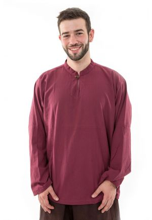 Shirt men burgundy 1 coconut wood button