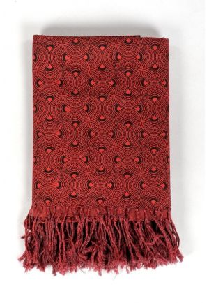 Scarf cotton boho fan red and black