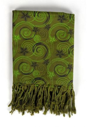 Scarf hippy flowers in the wind khaki