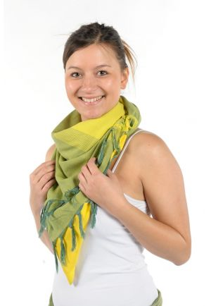 Scarf keffiyeh cotton basic boho green and yellow