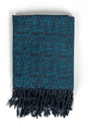 Scarf cotton boho flowers black blue