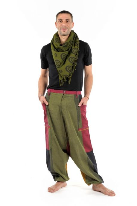 Harem pants men big pocket Fantasy Reggae red belt