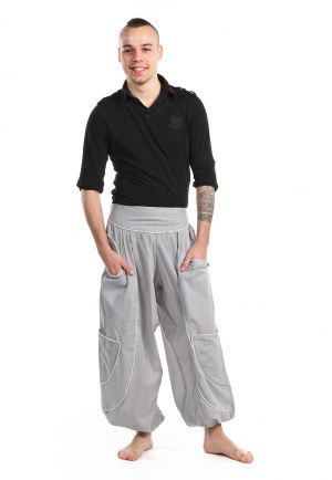 Harem Pants baggy genie men women light grey