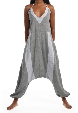 Harem jumsuit women lightweight cotton So Zen mineral grey