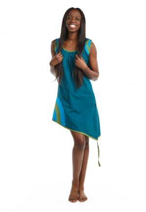 Tunic dress boho round blue green petrol