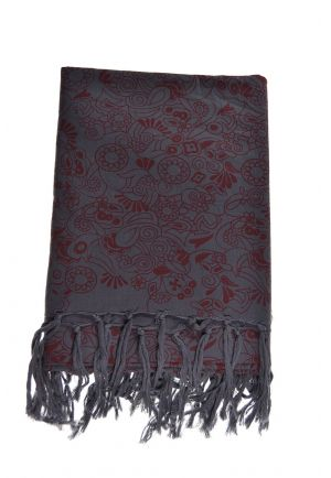 Scarf cotton nepali dream grey burgundy