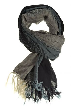 Scarf cotton basic ethnic flacked black grey