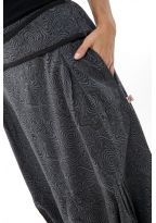 Harem pants women mouse grey printed black psychedelic
