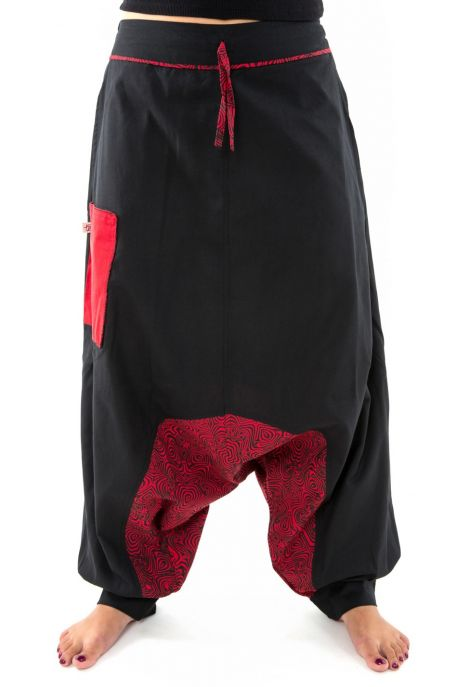 Boho Genie pants psychedelic black red winter