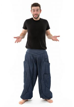 Parachute harem pants aladdin blue jean and black cotton men women
