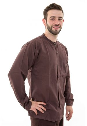 Brown lightweight cotton shirt Nepal Gengis coco buttons