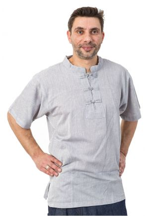 Chemise mao manches courtes gris chine Makesh