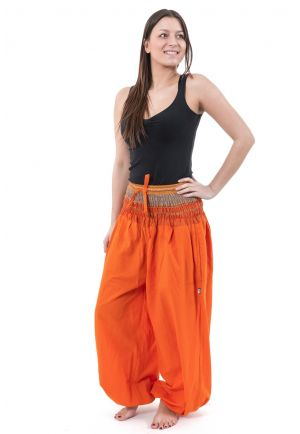Harem pants hippie large orange sari shiny Miki