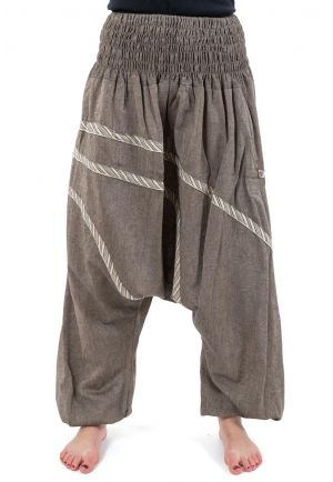 Harem pants plus size beige hemp heather Unduman