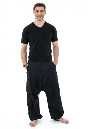 Straight man woman black plain harem baggy pants Sarul