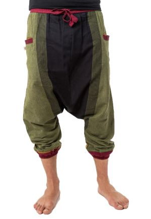Short harem pants men women light cotton black green yellow red
