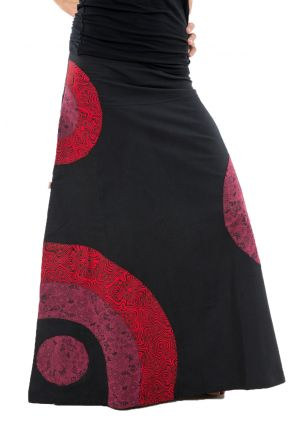 Long Dress psychedelic Nepali dream black red winter