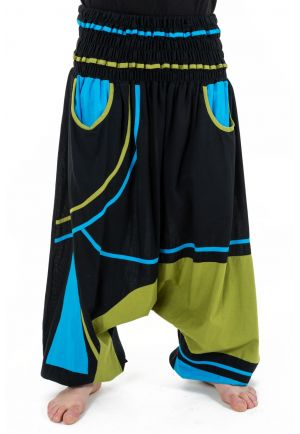 Harem pants elastic large size mixed black blue green Neonew