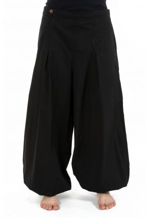 Wide ethnic puffing woman plain black pants Damh
