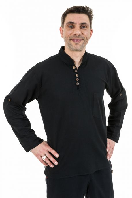 Ragyapa ethnic shirt with Mao collar convertible sleeves plain black