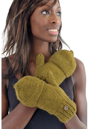 Mittens mitts light khaki pure wool and soft fleece