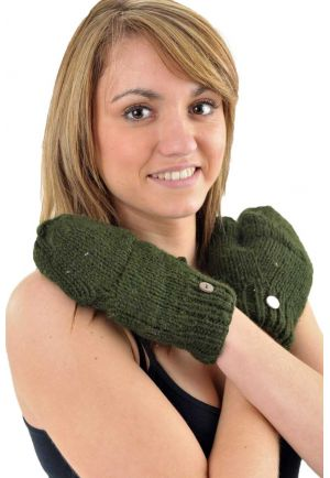 Mittens mitts khaki green pure wool and soft fleece