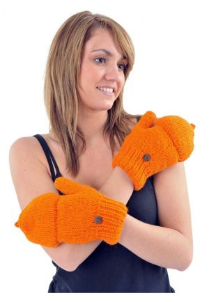 Mittens mitts pure orange wool and soft fleece