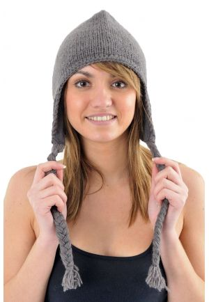 Pure grey wool and soft fleece hat from Nepal