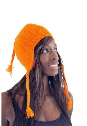 Pure orange wool and soft fleece hat from Nepal