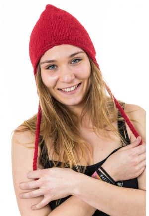 Pure red wool and soft fleece hat from Nepal
