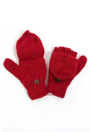Mittens plain red pure wool and soft fleece
