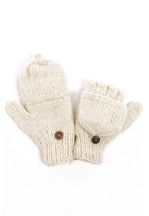 Mittens mitts plain cream pure wool and soft fleece