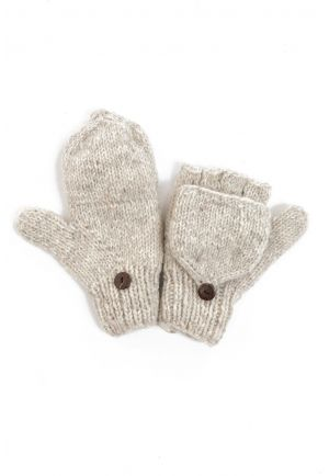 Mittens mitts light chine grey pure wool and soft fleece