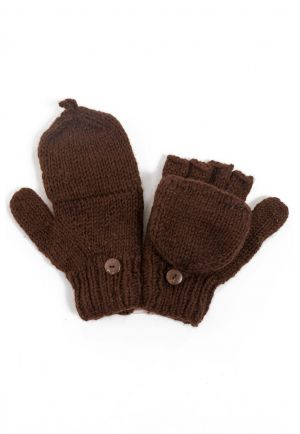 Light brown mittens pure wool and soft fleece